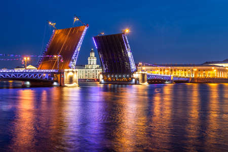 Saint Petersburg. Drawbridge The Palace Bridge. Night view of Petersburg. Cities of Russia. Neva River. Vasilievsky Island.