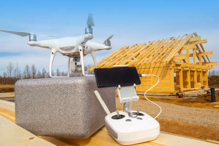Inspection of construction from the air. Monitoring the construction of a drone. Photographing the construction site with a drone. Stockfoto