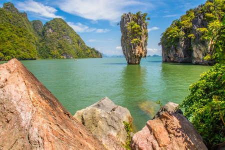 Thailand sea excursions. Bond Island. View of Bond Bay. The island of Phuket. Stockfoto