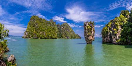 Panorama of Thailand. The island of Phuket. Panorama of Bond Island. Thailand sea excursions. Bond Island. Stockfoto