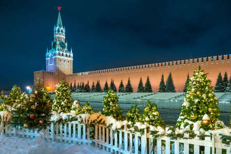 Moscow. Russia. Clock on the Kremlin tower. Moscow in the winter. Christmas Holidays. The Red Square. Kremlin. New Year. Russian Federation. Travel to Russia. The walls of the Kremlin.
