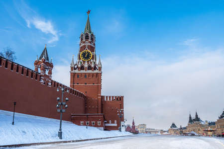 Moscow. Russia. The Red Square. Kremlin. Spasskaya Tower. Russian Federation. Travel to Russia. Hours on Red Square. Chimes on the Spassky Tower. Center of Russia. Kremlin walls.