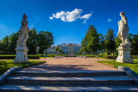 Russia. Summer day in the Park. The city of Pushkin. Neighborhoods of St. Petersburg.