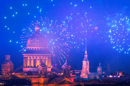 Holidays in Russia. Fireworks over Petersburg. Isaakievsky Cathedral and Peter and Paul Fortress. Museums of Petersburg. Celebration in St. Petersburg.