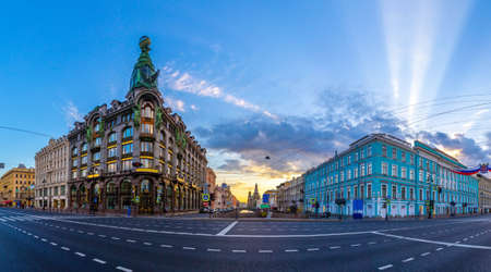 Saint Petersburg. Nevsky Prospect. Cities of Russia. Panorama of Nevsky Prospekt to St. Petersburg.