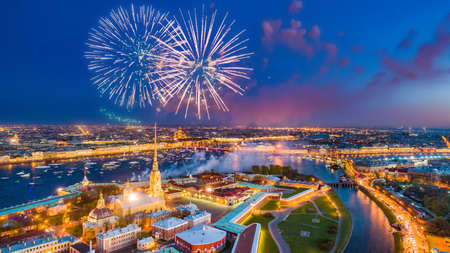 Salute in St. Petersburg. View of the Neva River. Festive view of St. Petersburg. Vasilievsky Island. Peter and Paul Fortress in St. Petersburg. Russia. Archivio Fotografico