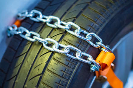 Anti-slip car chain. Against towing car chains. Chain on car wheels. Improved off-road performance. Riding off-road. Car safety