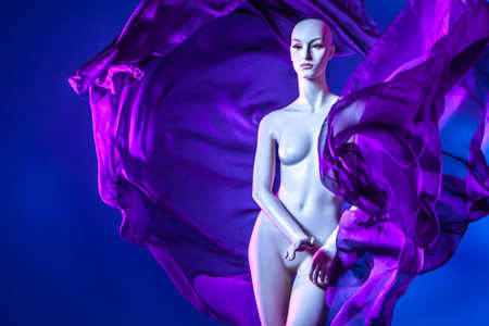 mannequin fashion. Purple fabric. Mannequin woman with wings. Girl with wings made of cloth. Whimsical look of the dummy. Mannequin for showing art ideas. Naked woman of plastic.