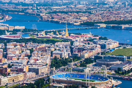 Panorama of St. Petersburg from the heights. Neva River. View of the Peter and Paul Fortress. Poster of Petersburg. Russia. Panorama of Russian cities. Russian Federation. Architecture.