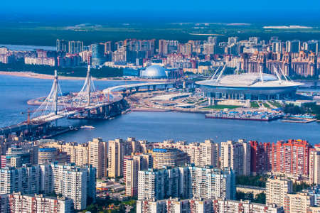 Saint Petersburg. Russia. Krestovsky Island. Vasilievsky Island. Construction of the district road in St. Petersburg. Football stadium in St. Petersburg.