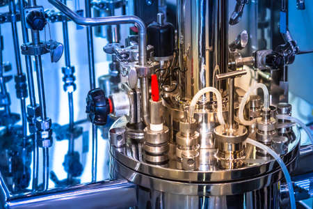 Laboratory bioreactor. Reactor fermenter. Fermenter industrial. Microbiological processes. The creation of drugs. Bio technology industry. Pharmacology.
