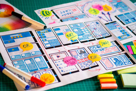 UX UI design. Designer develops a web application layout. Rendering a draft application for a smartphone. The design scheme of mobile applications for the framework. Wireframing.