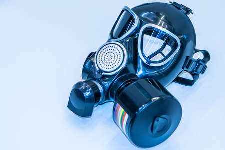 Modern gas mask. Respirator. Protection against toxic substances. Chemical protection. Filtering personal protective equipment. Protective clothing in the chemical industry.