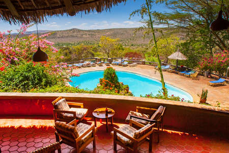 Africa. Kenya. Park Masai Mara. National Reserve Masai Mara. African lodge. Veranda with a view of the savannah. Tours to Kenya. Travel to Africa.