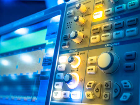 Electrical circuits. Industrial electrical concept. Research equipment. Measuring instruments. Oscilloscope. Digital oscilloscope for mixed signals in research laboratory