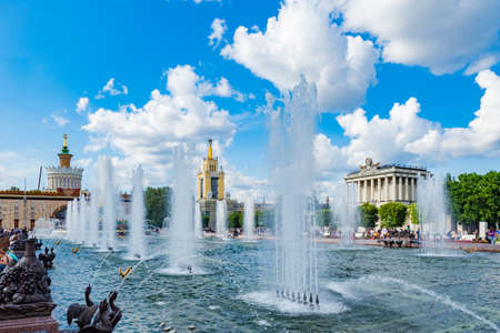 Moscow. Russia. Exhibition of achievements of the national economy in the summer day. Fountain