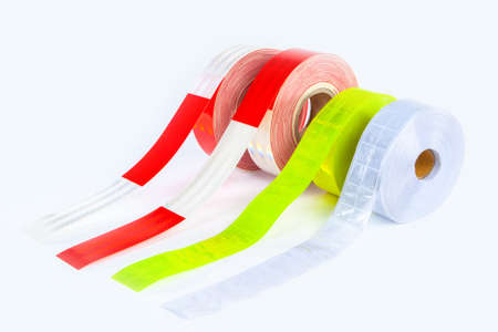 Reflective tape. Fluorescent adhesive strips for clothing. Attention tape to attract attention. Devices to improve pedestrian visibility. Reflective clothing road construction work. Standard-Bild