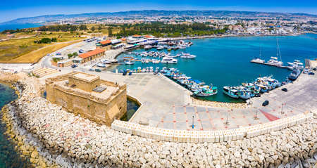 Cyprus. Pathos. The Paphos castl panoramic view from the sea. The medieval port castle in the harbor. The museums of Cyprus. Mediterranean coast. Tourist landmarks Paphos. Travel to Cyprus.