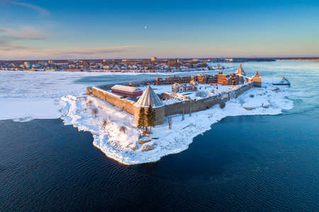 Saint Petersburg. Russia. Fortress Oreshek panoramic view from a height. Ancient fortress in winter. Leningrad region. Surroundings of St. Petersburg. Neva River. Ladoga lake. Traveling to Russia.