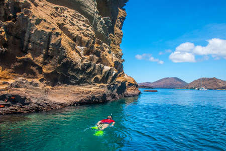 Ecuador. The Galapagos Islands. A man swims in a mask under the water. Travel through the Galapagos Islands. Diving. A diver with a mask. The nature of Ecuador. Imagens
