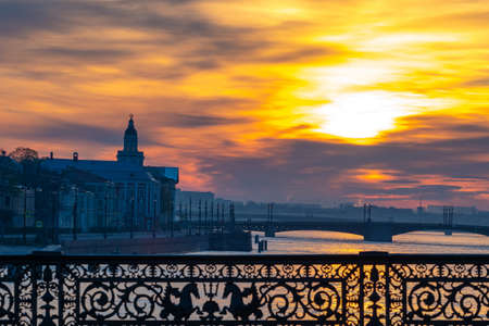 Saint Petersburg. Russia. White night. Beautiful railing of the bridge. Bridges Of Saint Petersburg. View from the bridge on Vasilievsky island. The river Neva. Arrow of Vasilievsky island.
