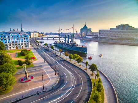 St. Petersburg. Russia. Cruiser Aurora. Petrogradskaya Embankment of Petersburg. Panorama of Peter. Neva River. Summer day. Museums SPB.