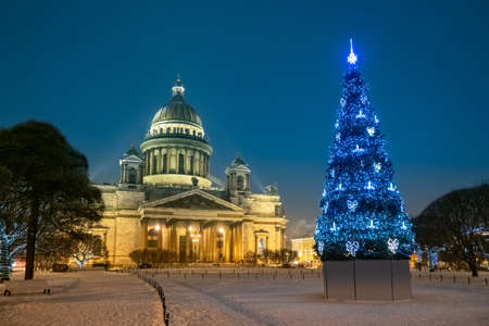Saint Petersburg. Russia. Christmas. Christmas tree in front of St. Isaac's Cathedral. Evening on St. Isaac's square. Cathedrals Of St. Petersburg. New year in Russia.