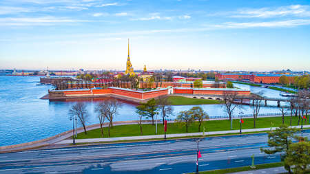 Saint Petersburg. Russia. View from the drone on the Peter and Paul fortress. Paul cathedral. Hare island. Panorama of St. Petersburg against the blue sky. Rivers Of St. Petersburg. The River Neva. Stock Photo