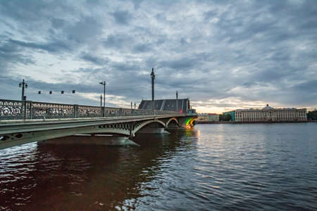 Saint Petersburg. View of the Neva. Annunciation Bridge. Petersburg. Russia in the summer. Cities of Russia. White nights in Petersburg. Travels in Russia.