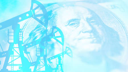 Petrodollars. Oil rigs and dollars in blue. The concept of the sale of natural resources. The price of crude oil. Revenue from mining. Production of petroleum products.