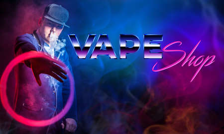 Sale of electronic cigarettes. The inscription VAPE shop and Smoking man in a baseball cap. A person lets out smoke from an e-cigarette and demonstrates a circle of smoke. Benefits and harms of vaping 免版税图像
