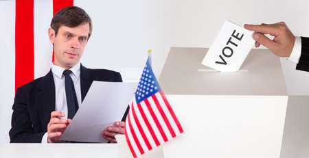 The election of the American President. Deliberate choice when voting. A person is thinking about which candidate to vote for in the election. Elections in USA by 2020. US Presidential elections.