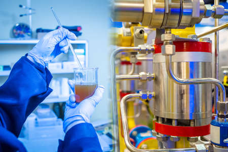 Chemical analyzes in production. Fuel analysis at a chemical plant. Laboratory tests in industry. Fuel quality check. Quality control of raw materials.