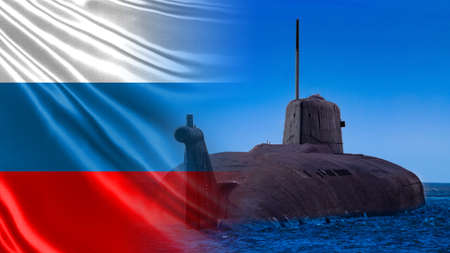 Fleet of Russia. Naval forces of the Russian Federation. Submarine on the background of the Russian flag. Equipment of the Russian army. Imagens