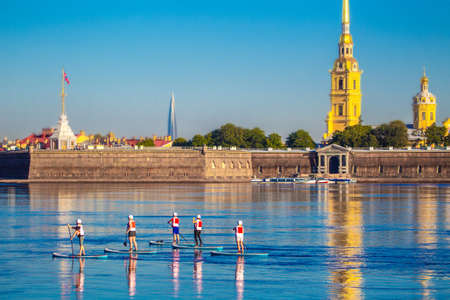 Center of Petersburg. Peter and Paul Fortress in the morning. Neva River. Summer in St. Petersburg. Russia. Saint Petersburg.