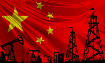 Oil rigs on the background of the flag of China. Chinese flag and oil production company. Oil production in the Republic of China. Global fuel market. Extraction of natural resources in PRC. Reklamní fotografie