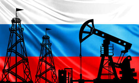 The oil industry of Russia. Oil rigs on the background of the Russian flag. Mining in Russia. Russian oil export. Russia in the global fuel market. Fuel industry.