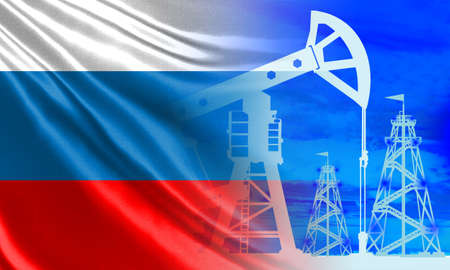 Russian oil industry. Russian flag and oil rigs. Oil production in Russia. Russia on the world energy market. Global fuel market. Natural resources of the Russian Federation. Foto de archivo