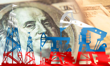 Oil rigs in the colors of the Russian flag on the background of the dollar. Petrodollars. Revenue from fuel sales. Extraction of natural resources in the Russian Federation. Russian oil export.