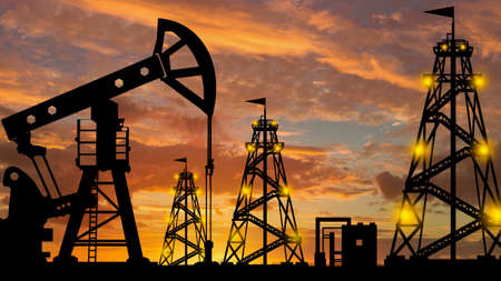 Silhouette of an oil production company. Natural resource extraction. Oil rigs against the evening sky. Oil export. Fuel industry. Global energy market. Reklamní fotografie
