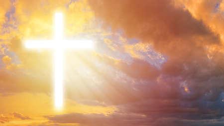 Luminous cross in the sky. Religious signs. Religious symbol. Crucifixion. Religion. Orthodox cross. Symbol of faith.