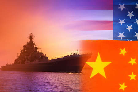 A warship on the background of the flags of America and China. The confrontation between the Chinese and American fleets. us Navy. Naval forces of the Republic of China. Conflicts at sea.