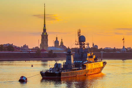 Saint Petersburg. Neva River. Warships in St. Petersburg. Russia. Usteny Petersburg. Naval forces. The parade of the ships. Military ships of Russia.