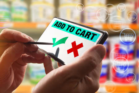 The person adds products to the virtual shopping cart. Shopping through the Internet. Ordering products using the mobile app.