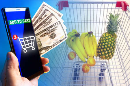 Different ways to make purchases. Buying vegetables and fruits in an online store. Online grocery store.
