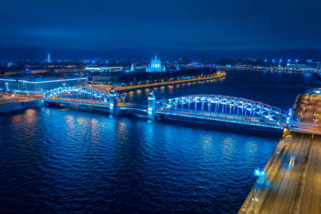 Evening panorama of Saint-Petersburg from the height. Cities of Russia. Bolsheokhtinsky bridge and Smolny Cathedral. Petersburg bridges. Rivers Of St. Petersburg.