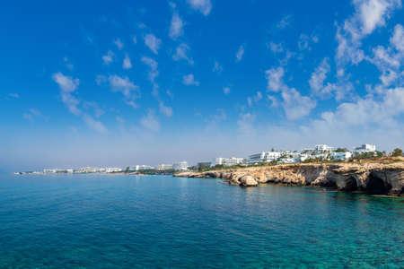 Cyprus beach. Panorama Of Ayia NAPA. Coast of the Republic of Cyprus. Mediterranean sea landscape. Hotels on the Mediterranean coast. Nature Of Cyprus. Banco de Imagens