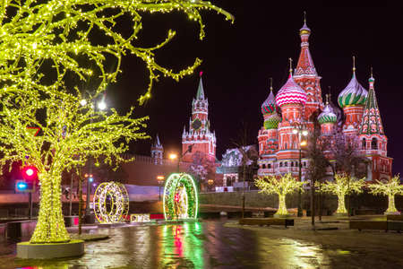 Moscow at Christmas. New year in the capital of Russia. Red square with Christmas decorations. Garlands at the Kremlin.