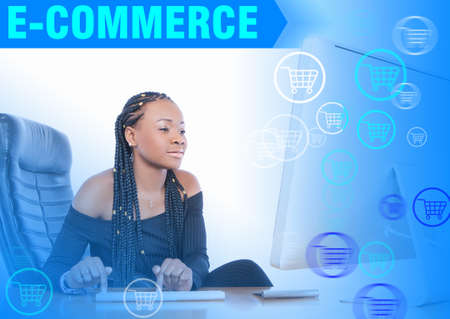 E-Commerce logo. A dark-skinned girl makes an order in an online store. Purchases of goods from your home or office. The concept of online shopping in blue. Convenient shopping.
