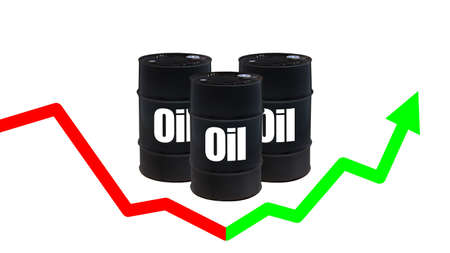 Barrels with oil . Arrow fluctuates up and down. Concept - pullback in the oil market. Rebound in crude oil prices. Recovery of the high cost of hydrocarbons. Fall turned into growth